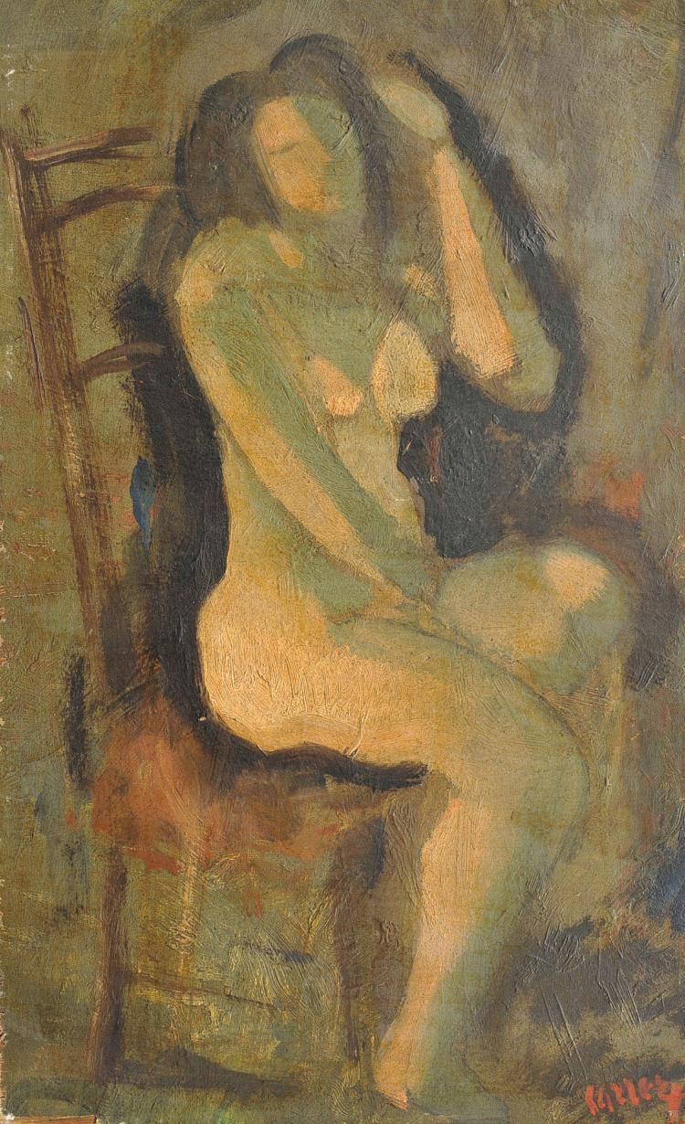 GUIDO CARRER (1902-1984) Nu assis, vers 1925