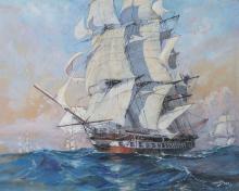 ALBERT SEBILLE (1874-1953) Vaisseau français en haute mer