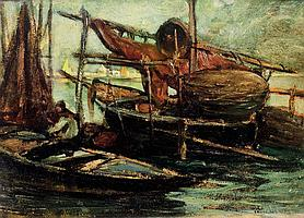 GIUSEPPE MITI-ZANETTI (1859-1929) Barque à Venise. Huile sur carton. Signé en bas à droite