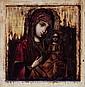 ICONE DOUBLE FACE XIXème Représentant d'un côté la Vierge à l'Enfant et de l'autre un Archange. Usures et restaurations.