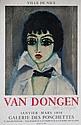 KEES VAN DONGEN (1877-1968) Galerie des Ponchettes, Nice. Affiche lithographique originale couleur, 1959. Editions Mourlot, Paris.