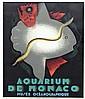 JEAN CARLU (1926) Aquarium de Monaco, Musée Océanographique. Affiche lithographique couleur. Edition Robert Lang, Paris.
