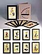 NINA KOGAN (1887-1942) Jeux d'échec aux formes géométriques abstraites, 1929. Portfolio Supremus en carton, et 8 compositions Suprématistes de 1929, aquarelle sur papier, signé en cyrillique N. Kogan. Provenance : Solomon Shuster Collection,