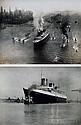 2 PHOTOS D'EPOQUE DU NORMANDIE Tirages noir et blanc argentique représentant le Paquebot Normandie l'un  en vue aérienne quittant le port de New-York et signé de Mc Laughlin et l'autre quittant le port du Havre.