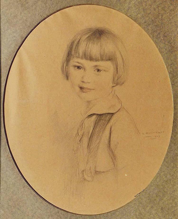 Louis buisseret 1888 1956 portrait d 39 une jeune fille dess - Dessin de jeune fille ...