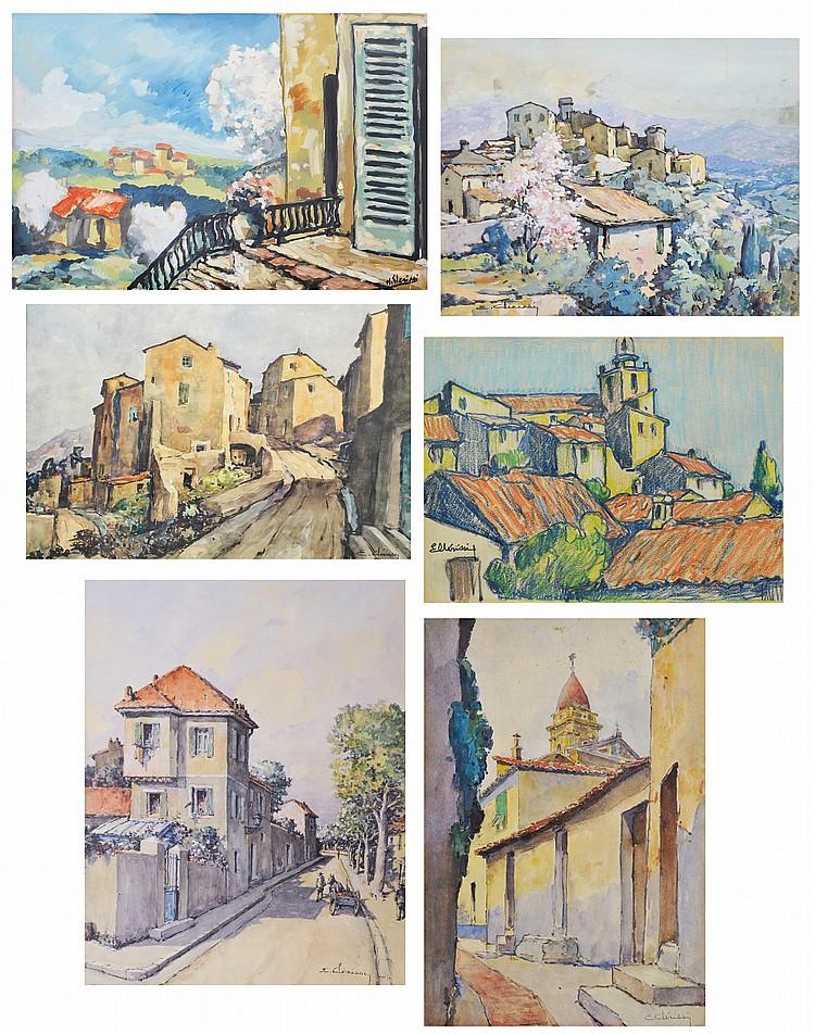 ETIENNE CLERISSI (1888-1971) & HUBERT CLERISSI (1923) Vues de villages