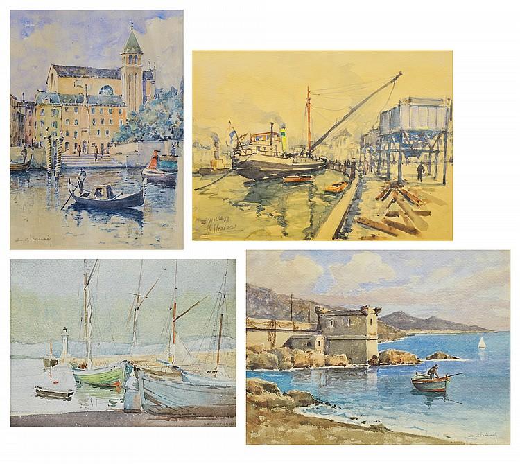 ETIENNE CLERISSI (1888-1971) & HUBERT CLERISSI (1923) Vues de Venise et des Ports de Saint-Tropez, Zwolle, etc.