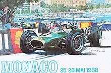 MICKAËL TURNER (XXème)  26ème Grand Prix de Monaco, 1968  Affiche lithographique originale couleur Dimensions : 40 x 60 cm
