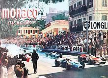 RENE MAESTRI  27ème Grand Prix de Monaco, 1969  Affiche lithographique couleur, tirage spécial portant le numéro 881. Imprimerie Nationale de Monaco Dimensions : 48 x 65 cm
