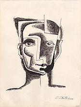 OSSIP ZADKINE (1890-1967)  Tête d'homme ca.1957-1958  Dessin à l'encre sur papier signé en bas à droite Dimensions : 24,6 x 18,6 cm