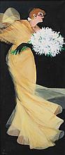 RENE GRUAU (Rimini 1909-2004 Rome)  La danseuse du Moulin Rouge au bouquet  Très grande huile sur toile signée en bas à gauche Provenance : Collection privée Dimensions : 179 x 75,5 cm