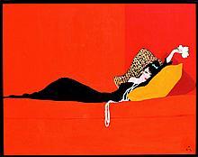RENE GRUAU (Rimini 1909-2004 Rome) L'Elégante au bouquet dans un canapé Très importante huile sur toile signée du célèbre monogramme de Gruau en bas à droite. Dimensions : 115 x 150 cm L'Elégante au bouquet sur un sofa restera probablement comme