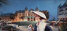 VIACHESLAV PLOTNIKOV (1962)  « Casino Square at night »  Huile sur toile signée en bas à gauche Dimensions : 20 x 40 cm