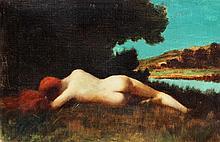 JEAN-JACQUES HENNER (1829-1905) Attribué à  Nu allongé en bord de rivière  Huile sur toile, Ecole française Dimensions : 24 x 35 cm