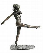 PAVEL PETROVITCH TROUBETZKOY (1866-1938) « Lady Constance Stewart, danseuse à la jambe droite levée » Importante sculpture en bronze à patine brune nuancée d'or à profondeurs vertes, signée à la main dans la cire sur la terrasse « Paul Troubezkoy,
