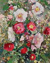 SERGEI SHISHKO (1911-1997)  Nature morte aux fleurs  Importante huile sur panneau cartonné signée en bas à droite et datée 69 pour 1969. Ecole Ukrainienne de Kiev. Dimensions : 50 x 40 cm