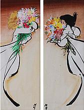 RENE GRUAU (Rimini 1909-2004 Rome) La brune et la blonde au bouquet Paire de techniques mixtes à l'huile, aquarelle et encre de Chine sur papier, signée en bas, l'une à gauche l'autre à droite du célèbre monogramme de l'artiste. Dimensions : 49,5 x