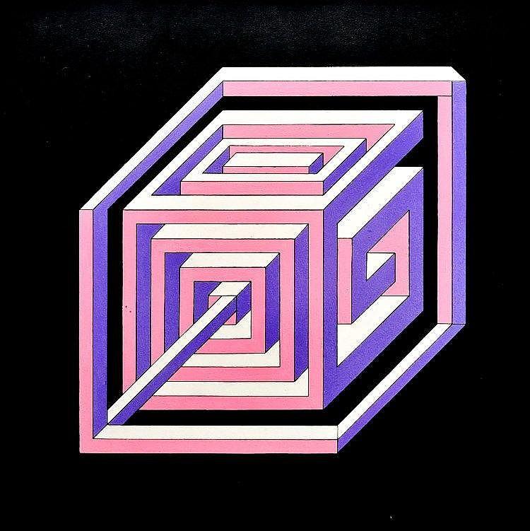 GUY POUPPEZ de KETTENIS (1915-1993 Monaco) Composition abstraite au labyrinthe