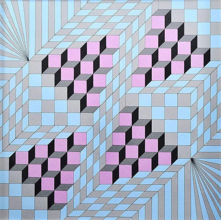 GUY POUPPEZ de KETTENIS (1915-1993 Monaco) Composition abstraite aux cubes bleu rose