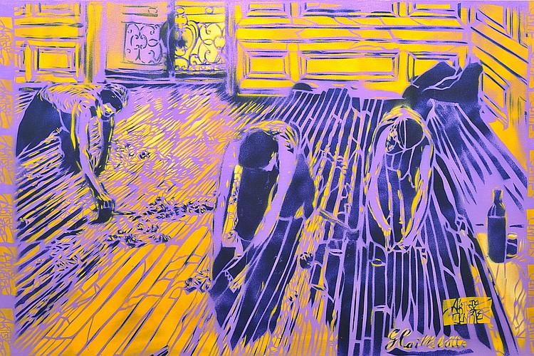ARTISTE OUVRIER  « Raboteurs violets » d'après Caillebotte, 2013