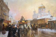 LEON ZEYTLINE (Moscou 1885-1962 Paris) Moscou, Cathédrale du Christ Sauveur sous la neige