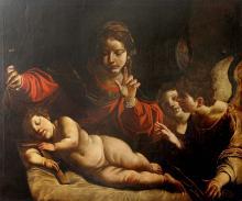 ALESSANDRO TIARINI (1577-1668), ATELIER L'Adoration de la Vierge avec l'Enfant Jésus et deux Anges