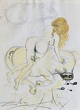 SALVADOR DALI (1904-1989)  Femme nue au cochon
