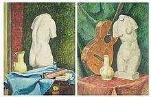 EMILE LEJEUNE (1885-1964)  Natures mortes a la sculpture, 1918