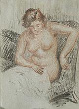 EMILE LEJEUNE (1885-1964)  Nu au fauteuil