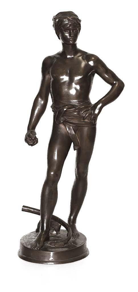 ANTONIN MERCIE  (1845-1916)  David   Sculpture en bronze à patine brun clair  Fonte Barbédienne Fondeur Paris   Signée sur la base   Dimensions : H.47.5 cm    ANTONIN MERCIE  (1845-1916)  SCULTPURE IN LIGHT BROWN  BRONZE PATINA  SIGNED ON THE BASE
