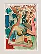 IGNASI VIDAL (1904-1988)  Nue au Satyre  Aquarelle sur papier signée en bas à droite  Dimensions : 32 x 23 cm