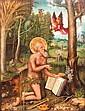 SAINT ONOFRE fin 15ème - début 16ème siècle ECOLE ALLEMANDE DU DANUBE Huile sur panneau parqueté Représenté comme un ermite en prière vêtu seulement de lierres dans un paysage animé, agenouillé devant la bible et recevant d'un ange la communion.