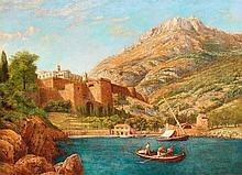 John Mulcaster CARRICK (1833-1896) Vue du Rocher et du Palais depuis Port Hercule