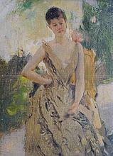 ENTOURAGE D' HENRI GERVEX (1852-1929) Elegante dans un jardin