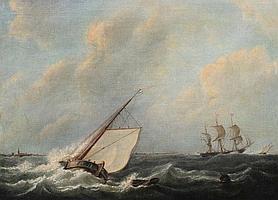MARTINUS SCHOUMAN (1770-1848) Voiliers dans la tempête