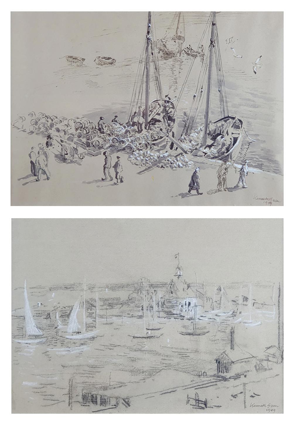 KENNETH GREEN (1905-1986) Scènes portuaires