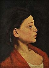 ENTOURAGE DE JEAN JACQUES HENNER (1829-1905) Portrait d'une jeune femme