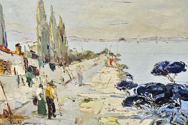 RUDOLF NEGELY (1883-1950) Le village en bord de Méditerranée