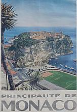 PRINCIPAUTE DE MONACO vers 1955  L'ancien Stade Louis II au pied du Rocher