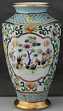 HAND PAINTED ARDALT LENWILE GILDED ROOSTERS VASE