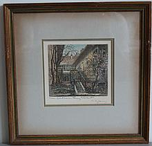 HAND COLORED HERTA CZOERNIG ETCHING SCHUBERT'S HOME