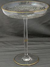 1930s OHIO, W VA BLOWN GLASS PRUNUS ETCHED GILT COMPOTE