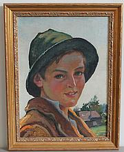 JOSEF FIALA (1882 - 1963) SHEPHERD BOY PORTRAIT