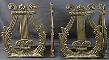 LOT OF 4 SOLID BRASS LYRE BOOKENDS
