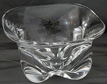 STEUBEN BLOWN CRYSTAL UNDULATING BASE GROUND CANDY DISH