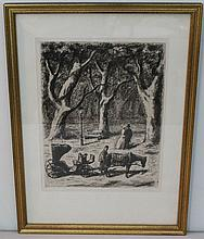 VINTAGE MILLER ETCHING COUPLE IN PARK WITH BUGGY