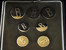 14KT GOLD BUTTON 7 BOXED SET BALLOU B MONOGRAMMED XK