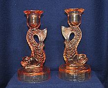 RARE PR US GLASS 1922 ROSE PINK DOLPHIN CANDLESTICKS XJ