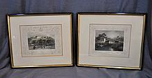 2 ANTIQUE COLOR ENGRAVINGS TOMBLESON THAMES ENG XW