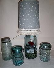 COUNTRY FOLK MASON JAR LAMP PLUS MASON ATLAS JARS XC
